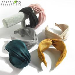 2019 nudos de pajarita AWAYTR Womens Headband Solid Twist Hairband Bow Knot Cross Tie Cloth Headwrap Hair Band Hoop Headwear Bandas de pelo Accesorios nudos de pajarita baratos