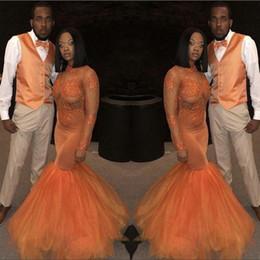 Vestiti tull online-Prom Dresses African Orange 2019 Mermaid maniche lunghe Nuovo Applique di pizzo che borda Tull Illusion collo alto abiti da sera formale del partito