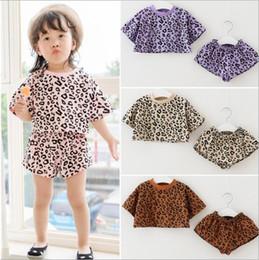 vestito top della stampa del leopardo Sconti Set di abbigliamento estivo Abbigliamento leopardato Abbigliamento per bambini Top manica corta estiva + abiti per bambini corti Set da 2 pezzi