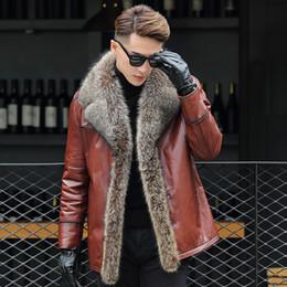 Fur ein Leder Herren Lederjacke großes Kind Pelzkragen Geschäft Herrenbekleidung