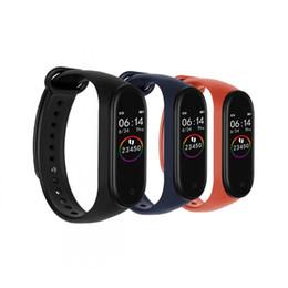 Podómetro corazón bluetooth online-El más nuevo m4 Pulsera Inteligente Ritmo Cardíaco Regalo táctil Monitor de sueño Rastreador de ejercicios Bluetooth Pulsera Podómetro Reloj deportivo para Android ios