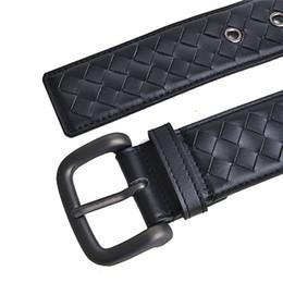 Tops tejido a mano online-Diseñador Top para hombre Cinturones de negocios Tejido a mano de lujo hebilla Pin Cinturón de cuero genuino Hombres Cinturón de cintura envío gratis