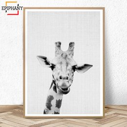 grande lona arte preto branco Desconto Girafa Impressão Nursery Wall Art Decor Animal Grande Cartazes e Estampas Pintura Lona Preto e Branco Nordic Kids Room Decortion