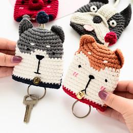 Deutschland Schöne Hunde Keychain Krake Bulldog Shiba Siberian Husky Keyring Tasche Hand stricken Schlüsselanhänger Key Case Bag supplier octopus cases Versorgung