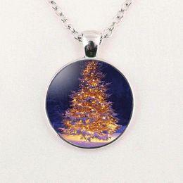 2019 colar de pingente de árvore de natal Árvore de natal arte colar de pingente de vidro dome cadeia de jóias 2019 novo pingente de colar de pingente de moda de natal