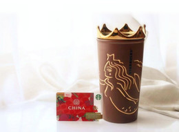 Starbucks café xícara cerâmica on-line-New Starbucks Sereia coroa de ouro Sino de café marrom Dupla Cerâmica de Isolamento Caneca Que Acompanha copo para fora dooor no carro caneca 355 ML