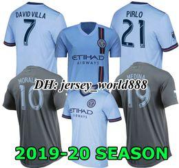 Chalets jersey online-DAVID VILLA 19 20 New York Home azul Soccer Jersey 2019 2020 ciudad MEDINA de distancia LAMPARD PIRLO Camiseta de fútbol Camiseta de manga larga MORALEZ MATARRITA