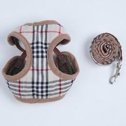designer hundeleinen Rabatt Klassisches Gitter-Bügel-Kragen mit Leinen Sets Pet Fashion Einstellbare Weste Kragen Außen gehender Hund Persönlichkeit Pet Supplies