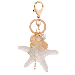 sea shell pearl pendant Promo Codes - HOT Sea World Pearl Shell Key Chain Cartoon Key Ring Crystal Tassel Pendant Keychain Girl Women Gift Trendy Jewelry