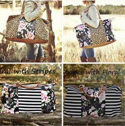 Bolsa de lona em listrado on-line-9 Floral design Leopard tote 22inch Striped Mulheres Leopard Canvas Hangbag Casual bolsa Mulheres Tote Bag KKA7001