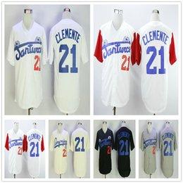 Роберто Клементе # 21 Santurce Crabbers Пуэрто-Рико Колледж Бейсбол Трикотажные футболки сшитые университетской бейсбольной рубашкой Белый Серый Кремовый Черный от Поставщики фиолетовый полосатый трикотаж