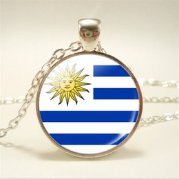 uruguay world cup Coupons - Fashion Time Gem Glass Cabochon Uruguay National Flag World Cup Football Fan Charm Choker Jewlery for Women Men Pendant Necklaces Party Gift