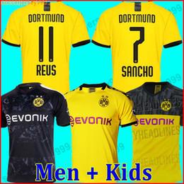 Crianças borussia on-line-19 20 BVB Borussia Dortmund camisa de futebol 2019 2020 GOTZE REUS PULISIC WITSEL camisa PACO ALCACER kit de futebol camisa MEN + crianças conjuntos de kit soccer jersey