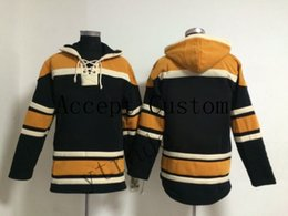 Hombres con capucha amarilla online-2019 2020 personalizada del hockey sudaderas Negro Amarillo largo de la manga desgaste al aire libre de los hombres de encargo hockey chaquetas con capucha