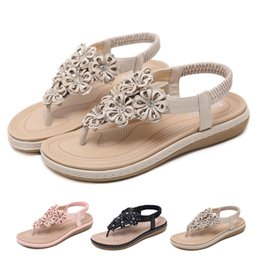 sandali caldi della molla Sconti Primavera estate donna donna estate estate sandali a fascia stretta scarpe calde moda cristallo floreale casual piatto Roma scarpe sandali # 89