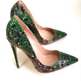 Grüne sandalen für frauen online-Freie Verschiffen-Frauen Dame Frau 2019S grüne Pythonschlange Leder Poined Zehen Hochzeit Fersen Stilett-Absatzschuhe Pumpen Sandalen Stiefel 10cm