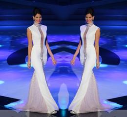 robe miss miss univers Promotion Custom Made Miss Univers Pageant Robes De Soirée Blanc Col Haut Bling Cristaux Manches En Tulle Sirène Célébrité Robes De Bal Formelles