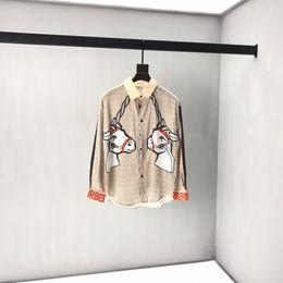 Oberbekleidung frauen kleidung online-19ss Mens Designer Freizeithemd Luxus Paris BT Einhorn Druck Kleidung Pullover Langarm Frauen Oberbekleidung Echt Label Tag Neu