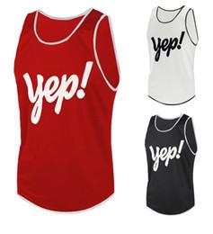Débardeurs respirant en Ligne-Yep Fashion Mens Summer Tank Tops 3 Couleurs Lettre Imprimé Sans Manches Col Rond T-shirt Respirant M-XXL
