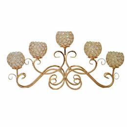 kristalltisch-mittelstücke Rabatt 5 Kopf Metall Kerzenhalter Gold / Silber Überzogene Kerzenhalter Kristall Tischleuchter Home Hotel Hochzeit Mittelstücke Dekoration