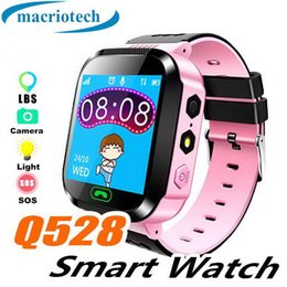 Smart watches for boys online-Pantalla táctil Q528 Niños GPS Tracker Watch Boy Girl Smart Watch SOS Call Location Finder Device Tracker Kids Flash Light Watch