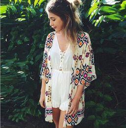 28cb5dea3965c New fashion spring summer chiffon beach blouse skirt womans shirt diamond  shape printing sunscreen cardigan kimono women clothes womens tops