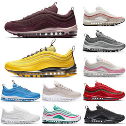 chaussures roses Promotion 2018 nike air max 97 airmax roshe run Brand New Men Low air 97 Coussin Respirant Casual Chaussures Pas Cher de Massage Courir Plat Sneakers Homme 97 Sports Chaussures En Plein Air