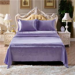 2019 lila seidendecke Lila Imitation Silk Sommer Bettwäsche Queen-Size-Bettbezug Königin 4 Stück (1 Matratzenbezug + 1 Bettlaken + 2 Kissenbezüge) Tröster Bettwäsche-Sets günstig lila seidendecke