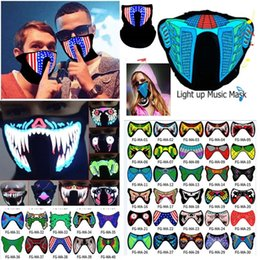 music mask Promo Codes - Halloween LED Music Light Airsoft Mask Luminous Glowing Flash Cosplay Masks Mascaras Carnaval Party Supplies Christams Decor AN2435