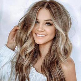 Europäische Und Amerikanische Perücke Große Welle Linen Brown Lange Haar Lockiges Haar Mischfarbe Kopfverkauf Der Fabrik