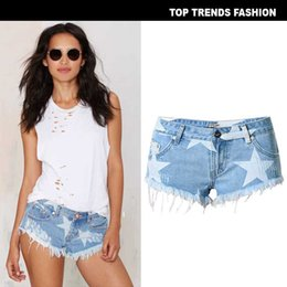 Sterndruck skinny jeans online-Frauen Shorts mit Print Stars Fashion Jeans für Night Club Party Tide Marke Kurze Hosen mit Quaste