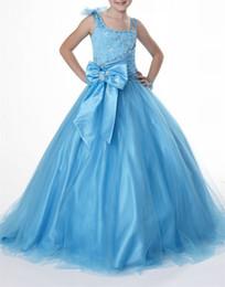 Ball Gown Crystal Sky Blue formale Lunghezza del pavimento TUTU ragazze Flower Girl Abiti Bambini Birthday Dress Bambini abiti da festa di nozze da abiti da sposa bambini blu fornitori