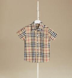 Neue standardhemden styles online-AUF lager 4 farbe 2019 heißer verkauf neuer junge sommer stil england wind kariertes hemd hochwertige baumwolle hübsches revers hemd versandkostenfrei