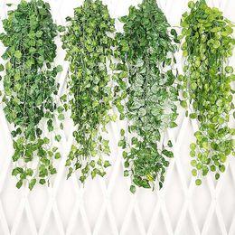 Piante fiorite di vite online-Hanging Vine Leaves Piante di erba artificiale Giardino Decorazioni per la festa di nozze Decorazione a parete Fiori decorativi Ghirlande HH9-2185