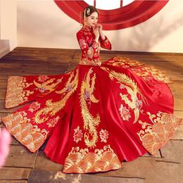 2019 chinês roupas cheongsam Cheongsam longo phoenix requintado mulheres qipao estilo chinês evening vestidos dress vintage bordado casamento terno clothing desconto chinês roupas cheongsam