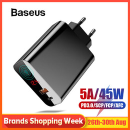 lcd iphone 4.7 Coupons - Baseus 45W LCD Display USB Charger with Quick Charge 4.0 3.0 For Redmi Note 7 QC3.0 PD Fast Phone Charger For iPhone X XR Xs Max