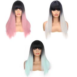 perruques de 26 pouces Promotion Cheveux synthétiques avec des perruques Bang droites 220g / Piece Fashion Ombre Deux Tons Résistant à la Chaleur 26 pouces