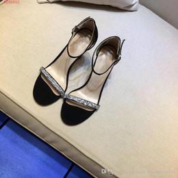 каблук на высоких каблуках Скидка Женские высокие каблуки с бриллиантами черные сандалии Два вида с 7,5 см 8,5 см