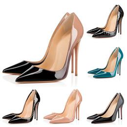 zapatillas negras Rebajas red bottoms Zapatos de tacón alto de mujer de diseñador Zapatos de punta redonda con punta redonda Zapatos de boda 35-42