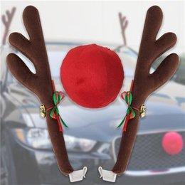 Antlers Natal caprichoso e nariz para carro decoração carro Adorno - Brown + Red de