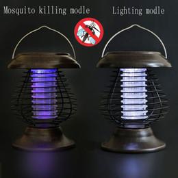 2019 luz solar asesino de insectos Solar Powered LED Lamp Bug Zappers Mosquito Killer Repelente de insectos Luz Jardín luz solar asesino de insectos baratos