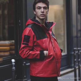 Argentina 18FW Box Logo PU de cuero Mountain Parka chaqueta a prueba de viento impermeable chaqueta exterior abrigo moda calle prendas de vestir exteriores S-XL HFYMJK152 Suministro