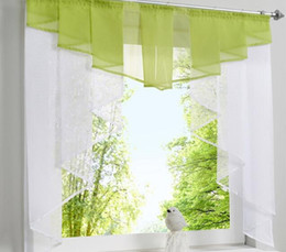 Прозрачные занавески онлайн-Flying Tulle Kitchen Curtain For Window Balcony Rome Pleated Design Stitching Colors Voile Sheer Drape White Yarn Curtains Short