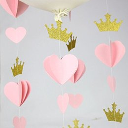 Decoracion Baby Shower Nina De Princesa.3d Oro Rosa Corazon Corona De Papel Guirnalda Princesa Feliz Cumpleanos Bunting Balloon Tail Baby Girl Shower Decoraciones De Papel Garland