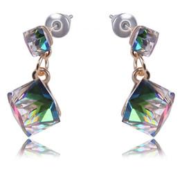 bunte ohrstecker Rabatt 1 Para Kristallwürfel Ohrring Frauen Mode Ohrringe Süße Stud Bunte Für Mädchen Bijou Aussage Schmuck