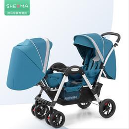 Carrinhos leves dobrados on-line-Babyfond gêmeos de luxo carrinho de bebê dobrável criança leve dobrável pode sentar reclinável gêmeo carrinho de bebê Shenma dois kid carrinho de bebê