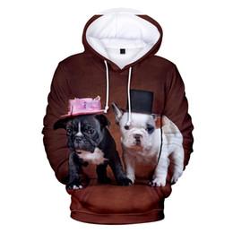 Canada Mode mignon bouledogue français 3D Hoodies hommes femmes automne Harajuku Sweat-shirts Hip Hop bouledogue français avec les casquettes 3D à capuchon brun supplier bulldog sweatshirts Offre