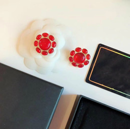 Ювелирные серьги люксового бренда Серьги-зажимы из красного подсолнуха с двойным кругом в форме буквы С Женские аксессуары для вечеринок от