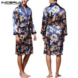 vestidos chineses impressos Desconto INCERUN Moda Satin Seda Pijamas Mens Robe Mangas Compridas Roupão de Banho Sorte Dragão Chinês Vestido de Impressão Roupão Sleepwear Lounge