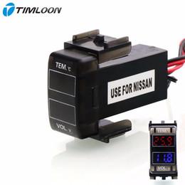 2019 nissan uso de coche voltaje del lcd Interfaz del automóvil Medidor de voltaje LCD digital de 12V Monitor de batería y uso del termómetro del automóvil para NISSAN, qashqai, tiida, x-trail, sunny, NV200 rebajas nissan uso de coche
